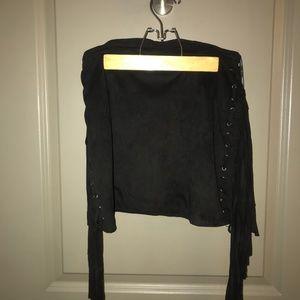 Black Suede Fringe Mini Skirt